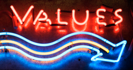 VALUES neon sign
